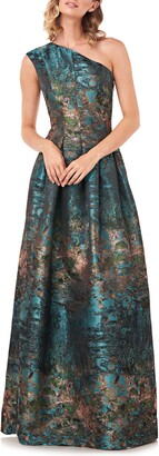 Kay Unger Cara Metallic Jacquard One-Shoulder Gown