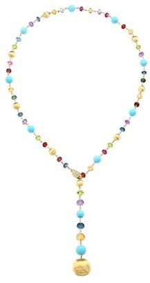 Marco Bicego Africa 18K Yellow Gold, Diamond, Turquoise & Mixed Gemstone Lariat Necklace