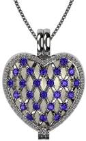 Nana Sterling Silver Heart Locket Mother's Pendant Platinum Plated - Amethyst Simulated Birthstone - Feb