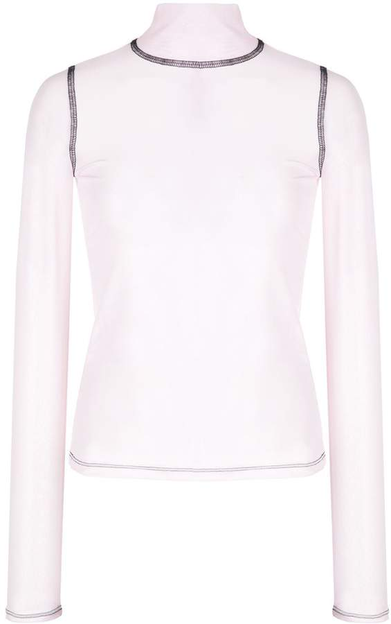 Sandy Liang mock-neck transparent top