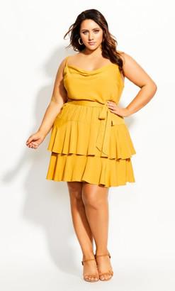 City Chic Mini Frill Dress - mustard