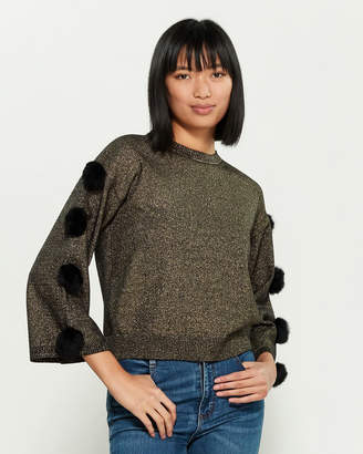 Chee Cho Gold Pom-Pom Long Sleeve Sweater