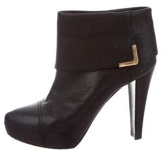 Louis Vuitton Leather Fold-Over Ankle Boots