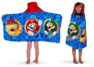 Super Mario Kids Bath and Beach Hooded Towel Wrap, 100% Cotton