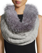 Sofia Cashmere Fur-Trim Cashmere Cable-Knit Snood, Gray