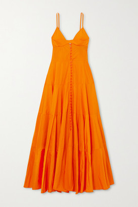 Jacquemus Manosque Tiered Taffeta Maxi Dress - Orange