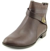 Anne Klein Kael Women Round Toe Leather Brown Ankle Boot.