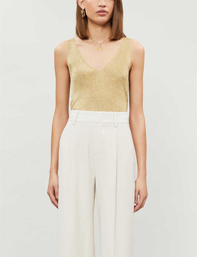 Reiss Alexis sleeveless metallic-knit top