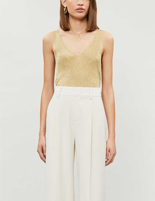 Reiss Alexis sleeveless metallic-knit top