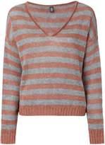 Eleventy striped V-neck jumper