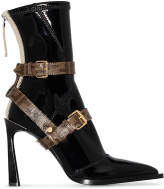 Fendi 105mm Buckled Faux Patent-Leather Ankle Boots