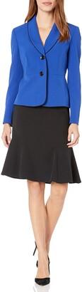 Le Suit LeSuit Women's 1 Button Shawl Collar Crepe FIT & Flare Skirt Suit