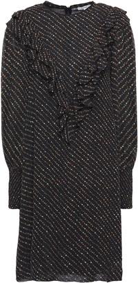 Ganni Ruffle-trimmed Shirred Floral-print Georgette Mini Dress