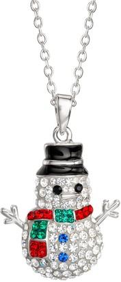 "Crystal and Enamel Snowman Pendant w/ 18"" Chain"