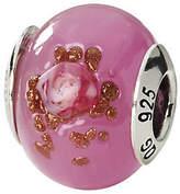 Murano Prerogatives Sterling Pink & Brown Italian Glass Bead