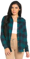 SOHO GLAM Front Pocket Button Up Flannel in Blue and Teal