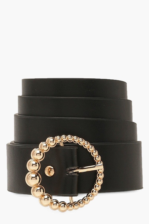 boohoo Gold Beaded Circle Buckle Belt