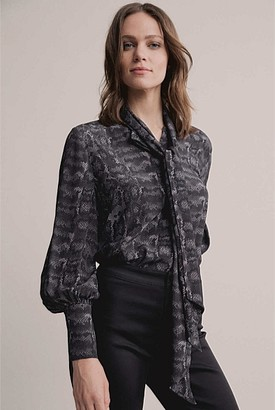 Witchery Print Scarf Neck Blouse