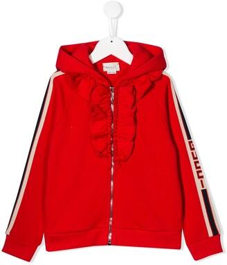 Gucci Kids ruffled hooded jacket