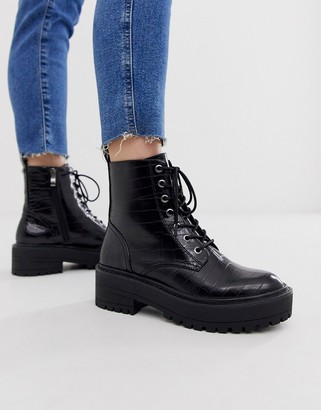Stradivarius croc effect lace up chunky soled boots in black