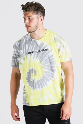 boohoo Mens Yellow Plus Size Official MAN Tie Dye T-Shirt, Yellow