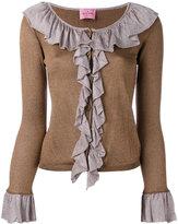 D'enia - ruffle cardigan - women - Acetate/Nylon/Metallized Polyester - S