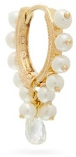 Maria Tash Coronet Diamond & Pearl 18kt Gold Single Earring - Pearl