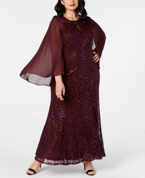 SL Fashions Plus Size Lace Capelet Gown