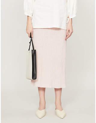 Jil Sander Pleated cotton-knit midi skirt