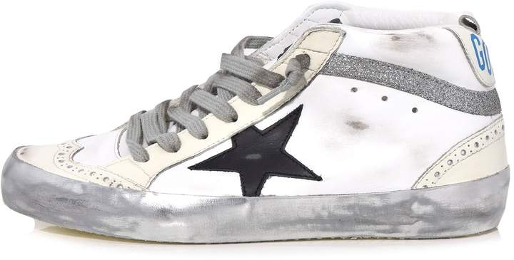 Golden Goose Mid Star Sneakers in Sparkle/White/Black Star