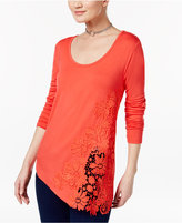 INC International Concepts Petite Crochet-Detail Top, Only at Macy's