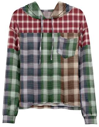 Lily Women's Sweatshirts and Hoodies GRN - Green & Red Plaid Patch Pocket Hoodie - Women & Plus
