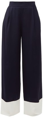 Odyssee - Tr Raynor High-rise Satin Palazzo Trousers - Womens - Navy White
