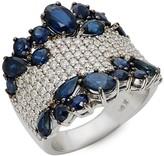 Effy 14K White Gold Sapphire & Diamond Ring