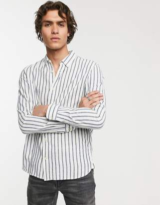 AllSaints stripe shirt in linen mix-White