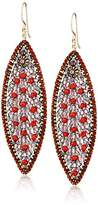 Miguel Ases Rubellite Quartz and Swarovski Marquis Drop Earrings