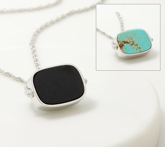 Generation Gems Sterling Silver Reversible Gemstone Pendant w/Chain
