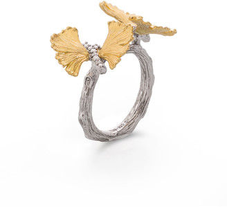 Michael Aram Double Butterfly Ginkgo 18K & Sterling Silver Ring with Diamonds