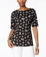 Karen Scott Elbow-Sleeve Printed Boatneck Top, Created for Macy's