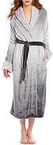 Cabernet Faux Fur-Trimmed Ombre Plush Wrap Robe