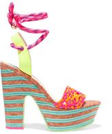 Sophia Webster Jade Neon Leather And Cork Platform Sandals - Pink