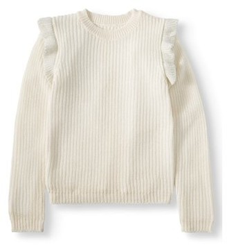 Pink Angel Ruffle Shoulder Knit Sweater (Little Girls & Big Girls)
