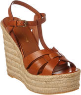 Saint Laurent Espadrille 95 T-Strap Leather Wedge Sandal