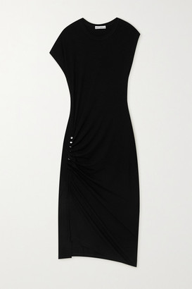 Paco Rabanne Asymmetric Ruched Stretch-jersey Midi Dress - Black