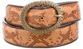 Bottega Veneta Leather-Trimmed Snakeskin Belt