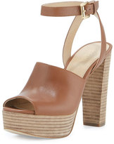 MICHAEL Michael Kors Trina Leather Platform Sandal, Luggage