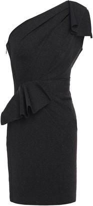 Herve Leger One-shoulder Bow-detailed Cutout Stretch-knit Mini Dress