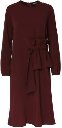Bluzat Midi Burgundy Dress With Side Drawstring Waist Detail