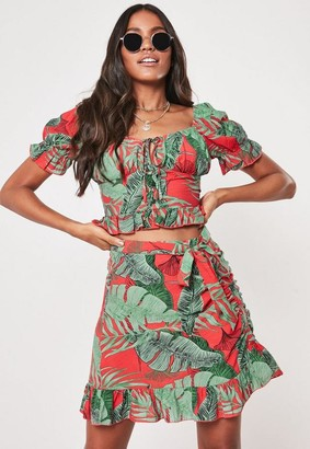Missguided Red Tropical Print Co Ord Wrap Frill Mini Skirt
