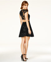 Sequin Hearts Juniors' Open-Back Sequined Dress